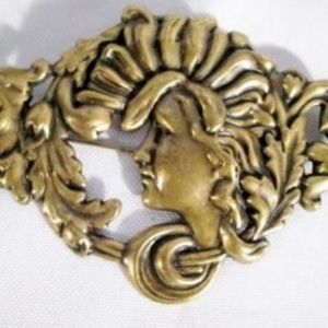 Vintage 1920s Art Deco Style CAMEO Face Brooch Pin